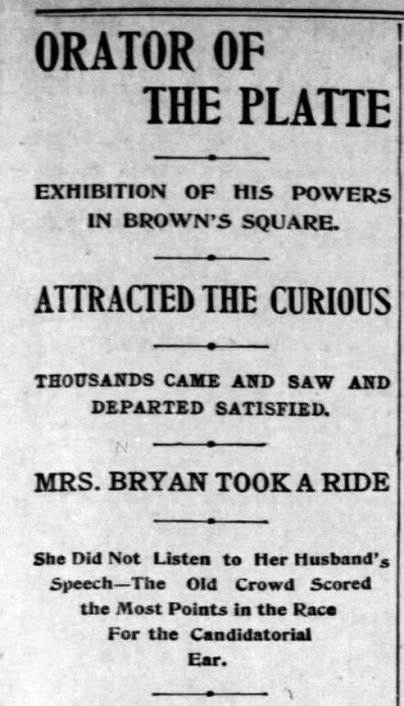 """Bryan made a short speech in Rochester on his way back to Nebraska following his """"Cross of Gold Speech"""" at the Democratic National Convention in Madison Square Garden. Democrat and Chronicle, Aug 27, 1896"""