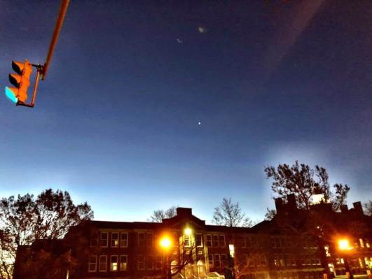 The students and I have been enjoying the presence of the 'morning star', the planet Venus. It can be seen as the tiny shiny spec over the high school. Naturally, we talked a little about all 8 planets, which were pretty well known to this group.