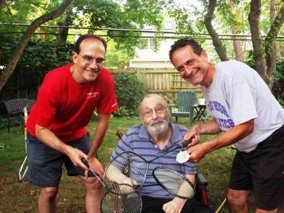 "(l-r) Dean Tucker with Prince racquet, Eugene Kramer British 38, David Kramer with Xonex Boron 200 [Photo: Carol Kramer] From ""The Game Sublime"""
