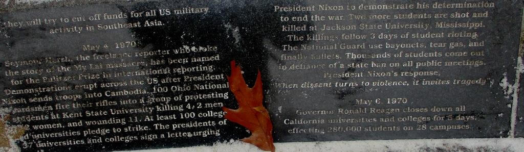 Plaque describing the Kent State shootings and the aftermath, Vietnam Memorial of Greater Rochester [Photo: David Kramer]