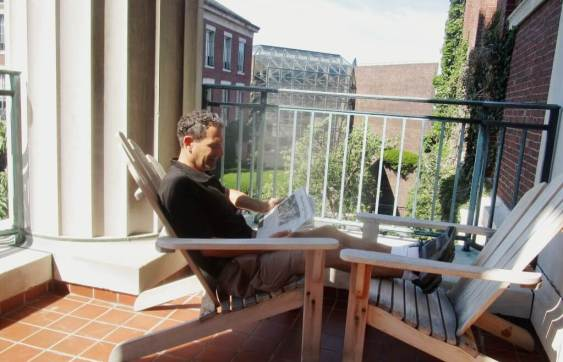 On the deck outside the Martin E. Messinger Periodical Reading Room. [Photo: Michael Selanov] 9/13/16