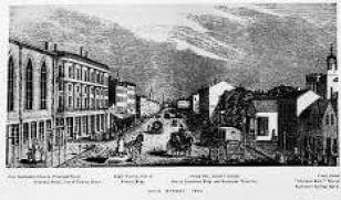 Main Street, Rochester, NY, 1840 at the approximate time when Van Evrie was practicing medicine in the Smith's Arcade, far left. (Central Library of Rochester and Monroe County · Historic Monographs Collection)