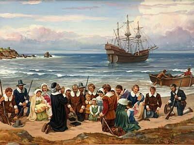 plymouth rock pilgrims landing douglass thanksgiving frederick prayer