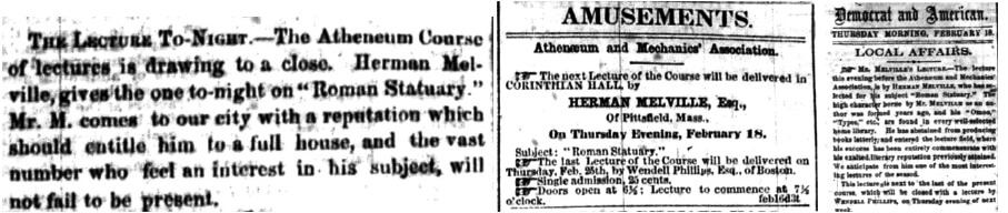 Advertisements and advance notices for Melville's lecture from Rochester Daily Democrat and Rochester Union and Advertiser