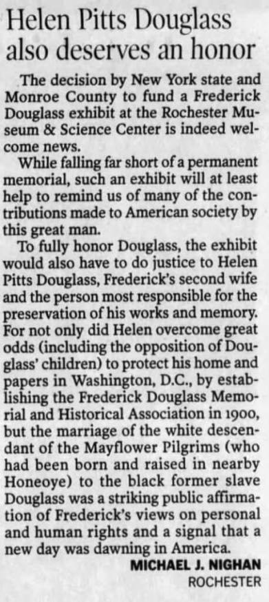 Editor's note: Nighan has been championing Helen Pitts for some time, including this Feb 12, 2003 letter to the Democrat and Chronicle