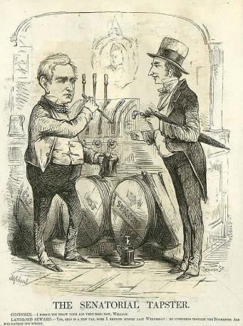 """Poking fun at Seward's apparent attempt to moderate the views expressed in his Rochester """"Irresistible Conflict"""" speech by his subsequent address before the Senate on Feb. 29, 1860, he's shown tapping a keg to pour a glass of beer while a customer asks, """"I notice you draw your ale very mild now, William"""", to which Seward replies, """"Yes, this is a new tap, some I brewed myself last Wednesday. My customers thought the Rochester ale was rather too strong""""."""
