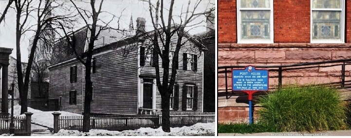 (left) The Post House. Now the site of the Hochstein School (right) Post House historical marker outside Hochstein