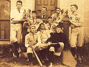 Crane (center), the catcher for the Syracuse University baseball team (1891)