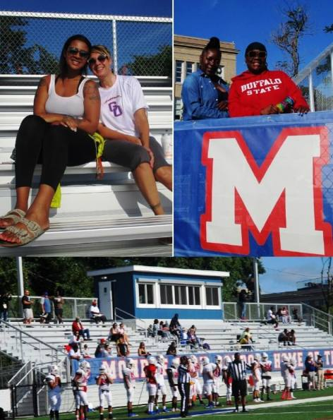 (top) Janelle and Amy Long, daughter and wife of the Greece Olympia coach, Monroe fans