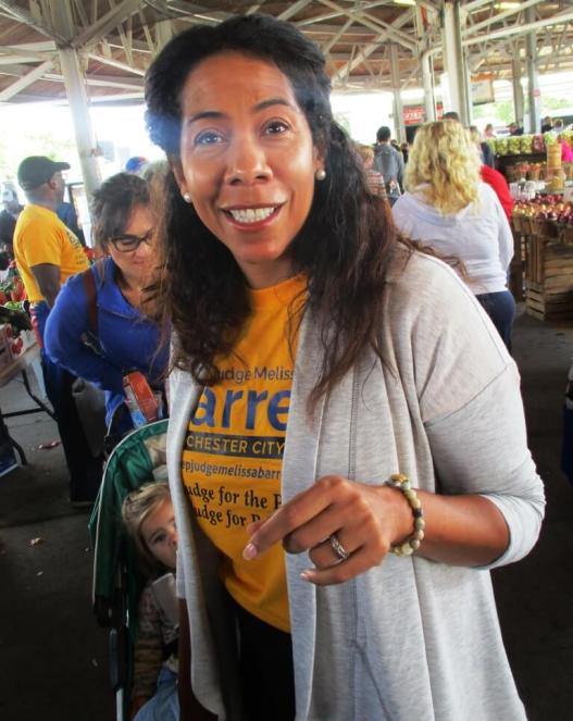 Rochester City Court candidate Melissa Barrett at the Rochester Public Market, 9/7/19