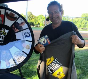 At the WBBE kiosk, I won several prizes. [Photo: Colleen Lagonegro, PR Representative, Entercom Rochester, 9/10/19]