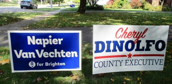 Lawn sign on Bonnie Brae in Brighton. Van Vechen is the Republican candidate for Brighton Town Supervisor, 10/29/19