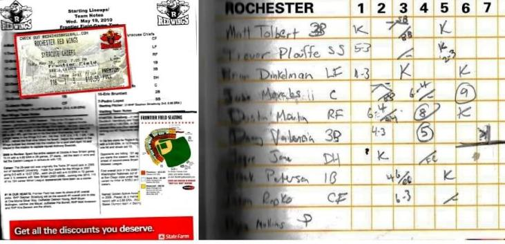 Program, lineups and scorecard for the May 19th, 2010 game