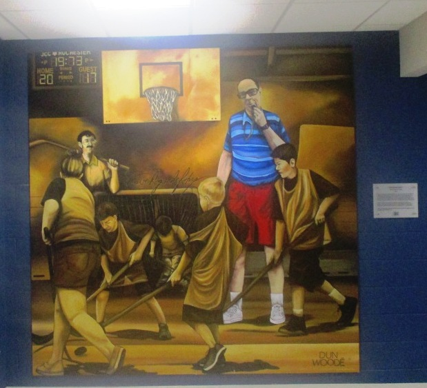 A Shawn Dunwoody mural and the floor hockey legacy of Dave Rogachefsky at the JCC