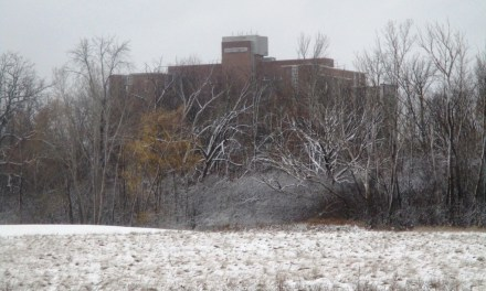 The first December snowfall at the Highland Crossing Trail in Brighton