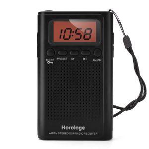 Radio de poche Horologe AM FM, radio-réveil portable avec heure, alarme, radio, affichage numérique, mode stéréo et batterie incluse