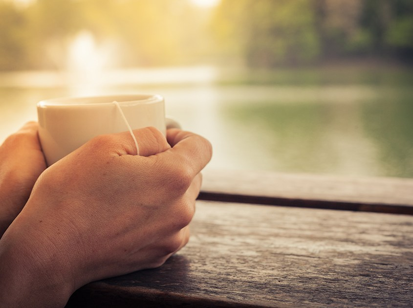 A photograph of a pair of hands holding a cup of tea in a calm and tranquil setting