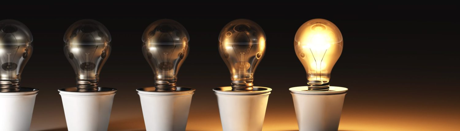 A series of light bulbs illustrating how different clients present for therapy with individual issues