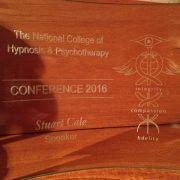 Therapy of dreaming- a photograph of the award for presenting at the 2016 International Hypnosis and Psychotherapy Conference
