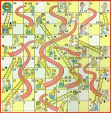 Chutes and ladders board. Snaking back-and-forth from bottom to top.