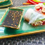 These Teriyaki Chicken Summer Rolls with Garlic Honey Soy Dipping Sauce are easy, fun, and delicious! Teriyaki Chicken strips are layered with Rice noodles, carrots, red pepper, bean sprouts and basil. All get rolled up in a light moistened rice paper. What you get is this bite of freshness that you dip into the sweet, tangy, and salty Garlic Honey Soy Sauce. These are a Summer delight! #chicken #summerrolls #springrolls #glutenfree