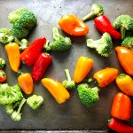 Peppers and broccoli on pan for Cilantro Lime Yogurt Chicken, Peppers & Broccoli