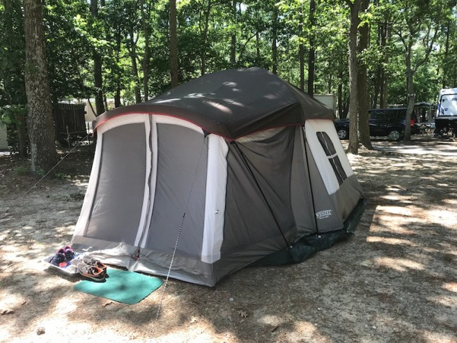 Camping with Kids Guide! 6'x11' Tent with Screen Room sleeps 4-8 ppl! This was a lifesaver for us with the kids. Easy to put up too!
