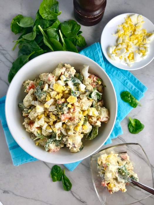 This Fully Loaded Potato Salad has salty bacon and cheddar cheese, creamy and rich egg, fresh scallions and baby spinach, and crunchy carrots.  The dressing is simple with a blend of yellow mustard and mayo.  Make ahead and enjoy later! YUMM-Y!