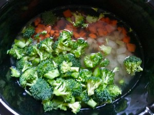 Broccoli florets, diced carrot, and onion with broth in crockpot for a Light Slow Cooker Creamy Broccoli Soup. This is easy, comforting, and delicious! With Carrots, Broccoli, Onion, Garlic, and Oregano, this is one flavorful soup. And, there is no heavy cream, just milk and a little half and half mixed with cornstarch, so it's healthy and gluten free!