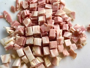 Diced Pancetta for Pancetta, Parmesan, and Pepper Pasta. The Pancetta gives a salty and slightly peppery flavor, Parmesan cheese creates a nutty and creamy sauce, and the ground black pepper gives a peppery flavor that makes this pasta stand out. #pasta #easypasta #easydinner #dinner #italian #familydinner #onpotdinners #onepandinners #parmesan