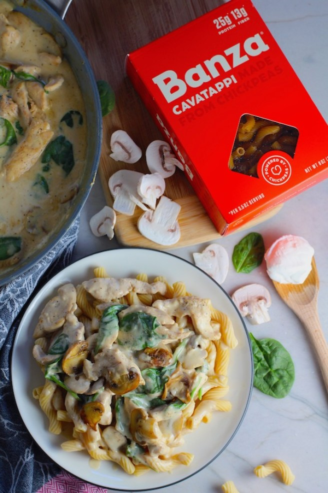 This Chicken Stroganoff Recipe with Spinach over pasta has a thick, creamy, savory, and earthy mushroom sauce with a touch of tangy brightness from the sour cream. Then you have meaty and hearty chicken strips and spinach.#stroganoff #chickendinners #chickenrecipes #familydinners #dinnerideas