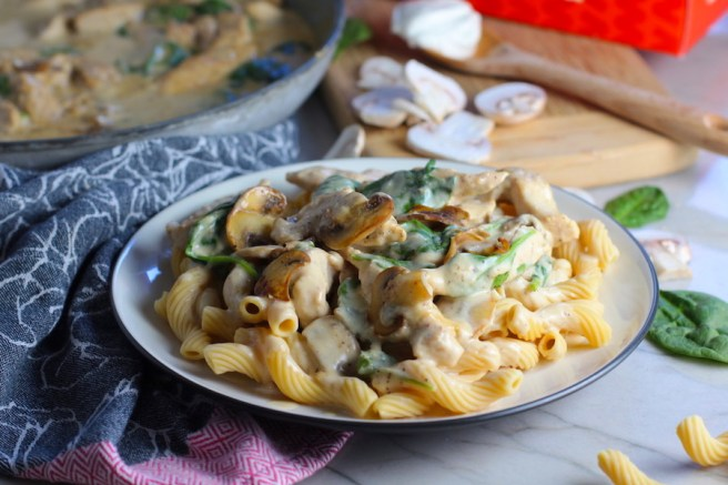 family chicken pasta dinner from the Talking Meals 30-Day Meal Prep Challenge.