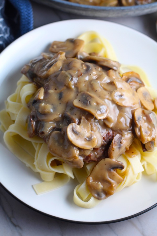 Vegetarian Salisbury Steak with Mushroom Sauce over pasta.  #vegetarian #healthydinner #dinnerideas #mushrooms