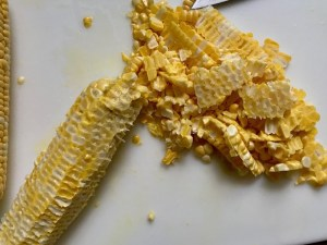 Corn cut off cob for Creamy Corn and Blackened Chicken skillet dinner