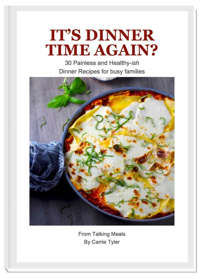 It's Dinner Time Again? Cookbook Cover for eBook with 30 Easy Dinner Recipes for Busy Families
