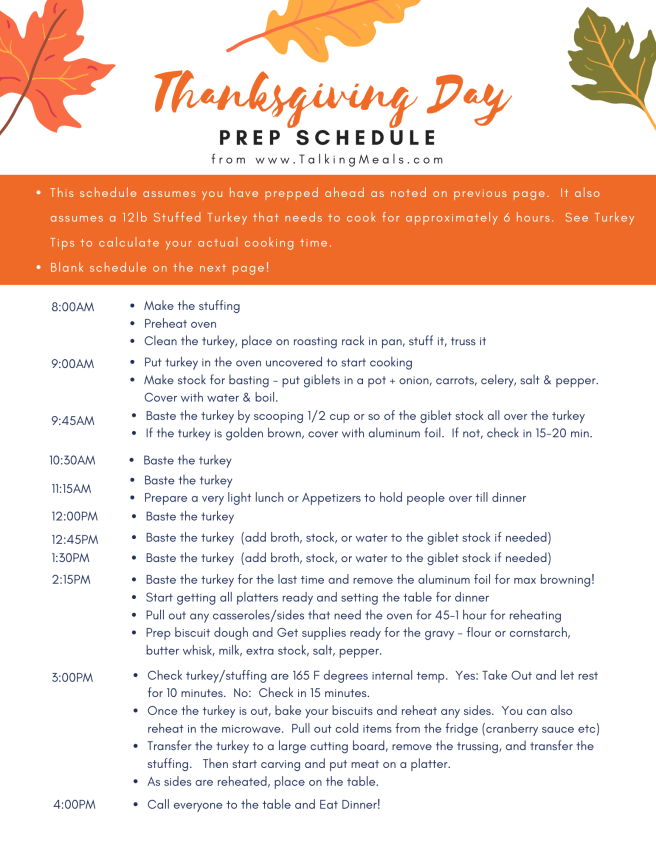 Example of Thanksgiving Day schedule for Thanksgiving Dinner Meal Planner & Prep Guide