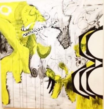 "Charline von Heyl ""Troubador"" 2014 oil,acrylic and charcoal on canvas 82x78"""