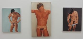 "Alexandra Rubenstein ""John Paul #1"" 14 x 11"", ""John Paul #2"", 14 x 11"" ""Erich"" 20 x 11 inches, all oil on canvas 2016"