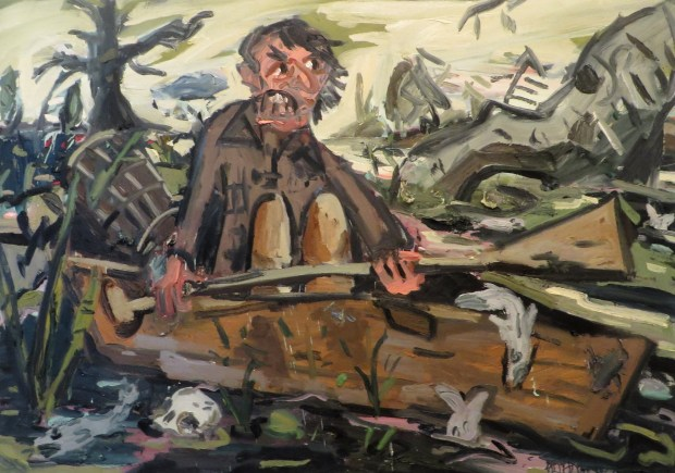 """The Skepticism of the Angry Man Landed Him in a Mire of Gloom and Doom, oil on canvas, 66""""x 92"""" 2016"""