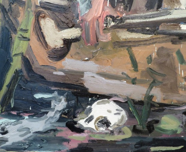The Skepticism of the Angry Man Landed Him in a Mire of Gloom and Doom, oil on canvas, (detail) see painting above