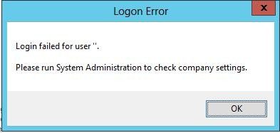 Sage 200 2013 - 'Login failed for user '.' Please run System Administration to check company settings.' error (1/2)
