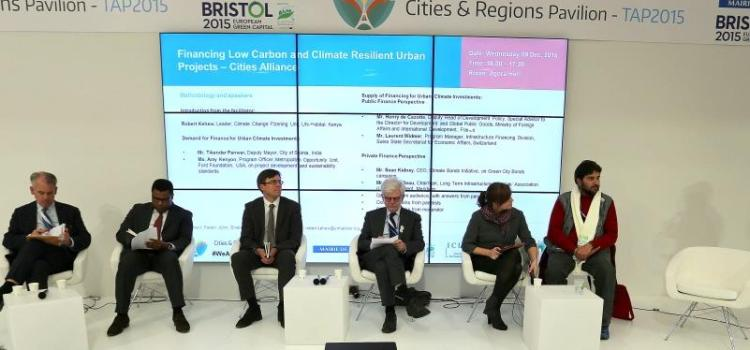 Speakers at the Cities & Regions Pavilion in the Climate Generations Areas at COP21.