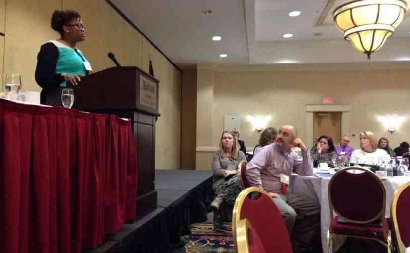 OTDA Executive Deputy Commissioner Sharon Devine speaks addresses the New York Public Welfare Association in Albany.