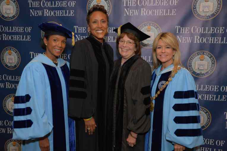 Pictured, from left, Gwen Adolph, Chair of the Board of Trustees, The College of New Rochelle; Robin Roberts, Co-Anchor, ABC's Good Morning America; Elizabeth Bell LeVaca, immediate past Chair of the Board of Trustees, The College of New Rochelle; and Judith Huntington, President, The College of New Rochelle.