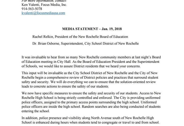 The City School District of New Rochelle Issued the Following Press Release Today Following the Board of Education Meeting Thursday Night.