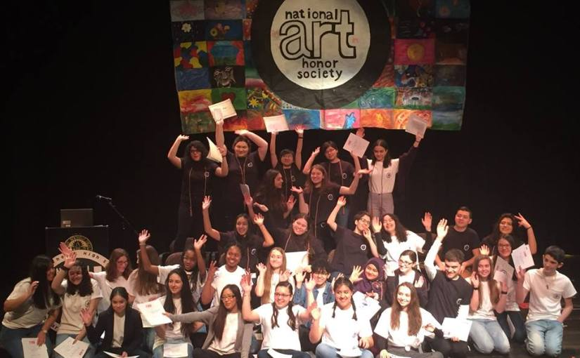 Thirty-five New Rochelle High School Students were Inducted into the National Arts Honor Society in the Linda E. Kelly Theatre