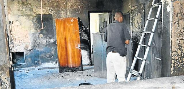 DEVASTATION: Fire gutted the reception area and the hallway of Port Alfred High School after having apparently been purposefully set by burglars in the early hours of Sunday morning. Picture: ROB KNOWLES