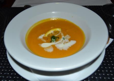 SOUP OF THE DAY: This butternut soup was almost a meal in itself, served at the chef's canapés evening at MyPond Hotel last week to finalise the new menu Picture: ROB KNOWLES