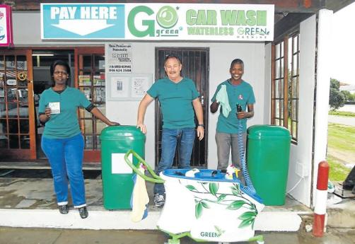 GREEN TEAM: The team of Go Green Car Wash, from left, Precious Tsotsi, Leon Horn and Simphiwe Zenzile are ready to wash your vehicle today.