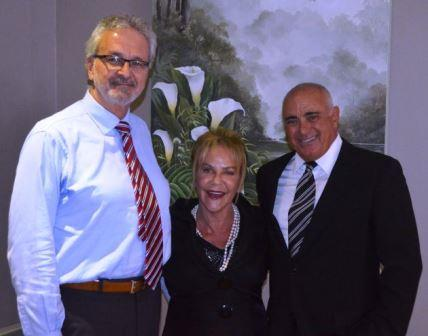 JOINING THE FOLD: New franchise owner of Sotheby's Port Alfred Wayne Bushell, left, with chairman of Lew Geffen Sotheby's International Realty, Lew Geffen and his wife Sandy at the regional Sapphire awards event at MyPond Hotel last week Picture: JON HOUZET